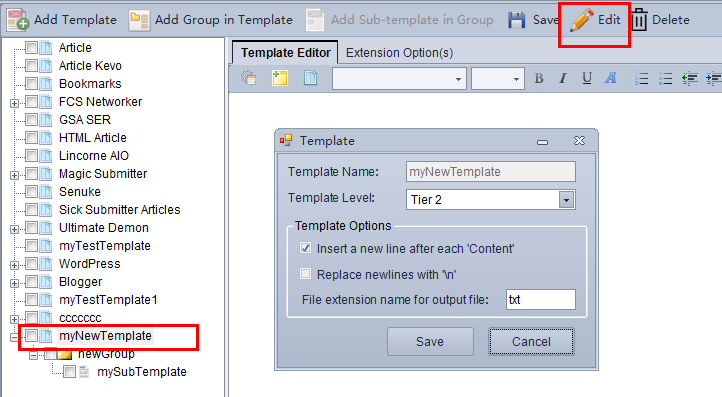4.3 Content Template Creating, Edit and Delele
